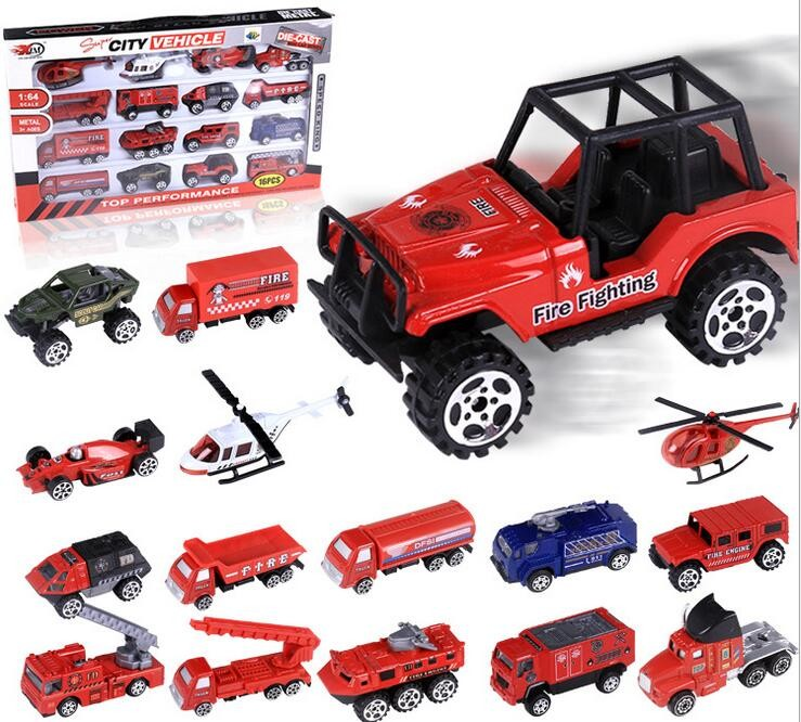 16 Style 1:64 Mini sliding Alloy car Firefighting car Military vehicles Helicopter Simul ...