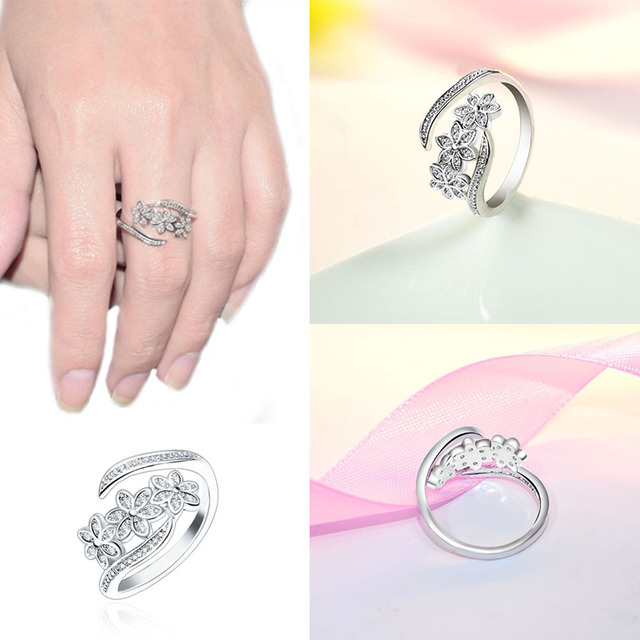 LNRRABC Elegant Flowers Finger Rings Stainless Steel Rings For Women Crystal Ring Fashion Jewelry Wholesale Dropshipping