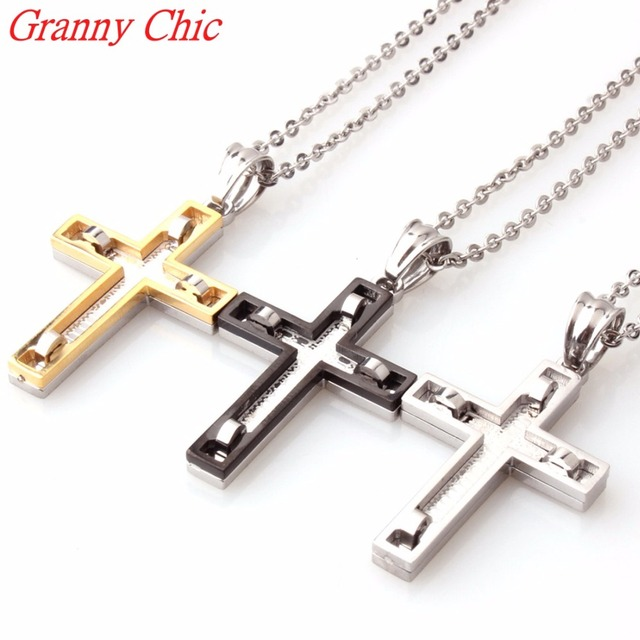Granny chic big cross pendants necklaces for men chain christian granny chic big cross pendants necklaces for men chain christian jewelry stainless steel two tone silver aloadofball Images