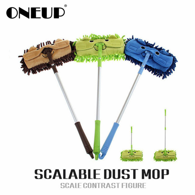 ONEUP Mini Mop Handy Easy Mops Floor Car Window Cleaning New Chenille Telescopic Removable Dust Mop Chenille Cartoon
