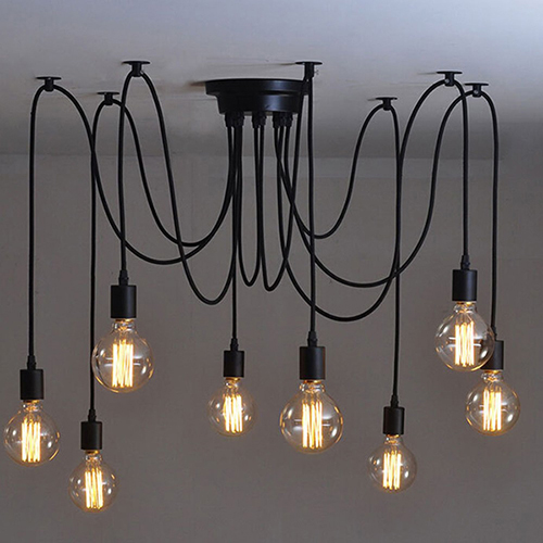 PEARMON Vintage Edison Multiple Adjustable DIY Ceiling Spider pendent Lighting modern Chic Industrial Chandelier lamps 14 lights practical 8 lights vintage edison lamp shade multiple adjustable diy ceiling spider lamp pendent lighting chandelier moder