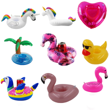 Mini Water Coasters Floating inflatable cup holder Swimming pool drink float toy circle Pool Swan Flamingo