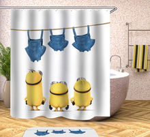 Yellow Shower Curtain Mischievous Minions Fabric Curtains Waterproof Bathroom Grinch
