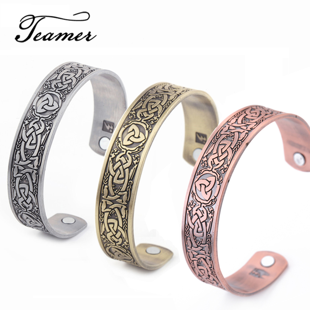 Teamer Viking Bangles for Men Health Care Cuff Magnetic Therapy Bracelet Lucky Celtics Knot Wicca Bangle Vintage Amulet Jewelry bangle