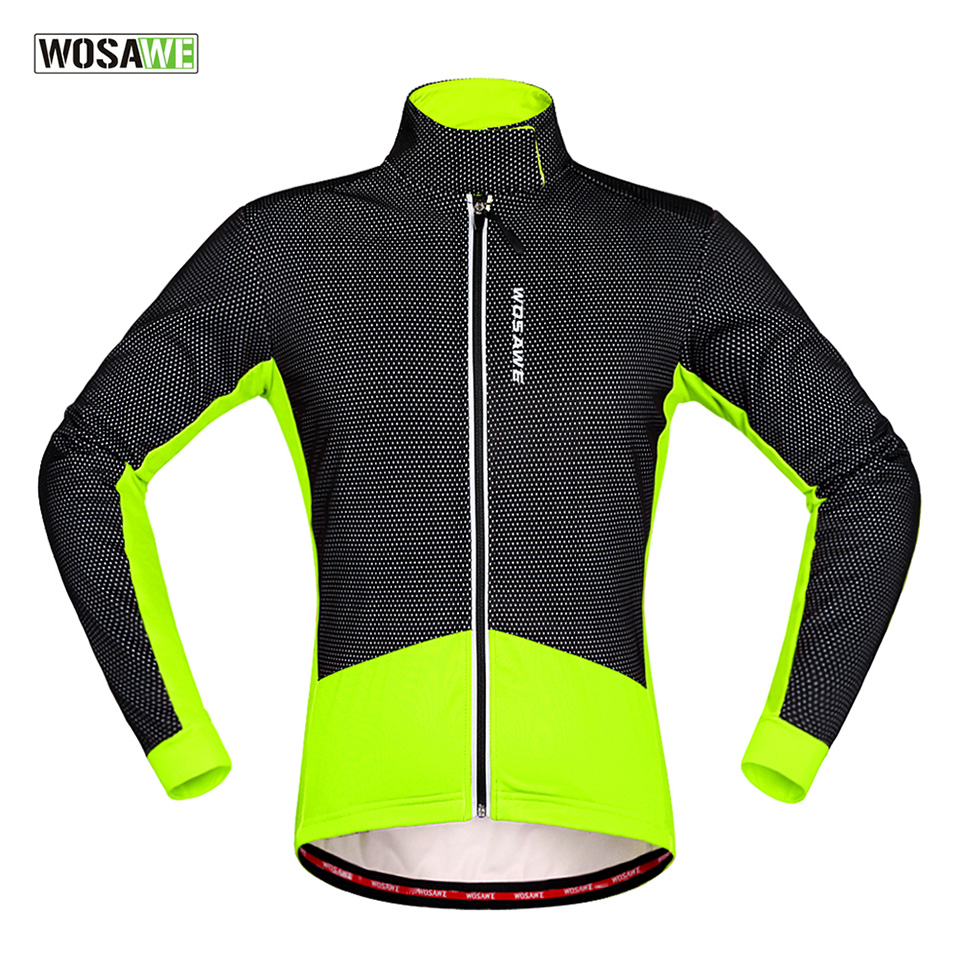 WOSAWE Men Winter Fleece Thermal Warm Cycling Jersey Bicycle Bike Wind Coat Windproof Anti-Sweat Rainproof Riding Bike Jacket  wosawe outdoor sports windproof winter long sleeve cycling jacket unisex fleece thermal mtb riding bike jersey men s coat