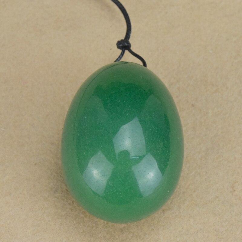 Drilled Natural Green Aventurine Jade Egg for Kegel Exercise, 40 * - Helsevesen - Bilde 2