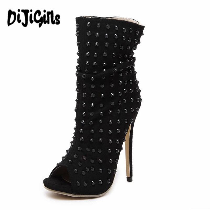 2017 Peep Toe Brand Rome Rivets Fashion High Heels Pumps Sexy Ladies Shoes Zapatos Mujer Summer Short Woman Boots idg brand women slip on high heels short rough with the fall and winter metal buckle rivets shoes woman zapatos mujer tacon