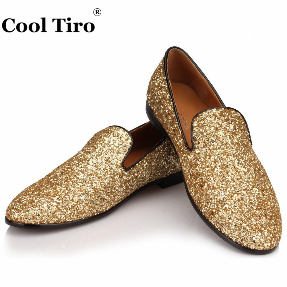 Gold Glistening Glitter Loafers Men Smoking Slippers Formal Wedding Dress  Shoes Men s Moccasins leather Casual Shoes Flats Sequi-in Formal Shoes from  Shoes ... c5ddd4a32abb