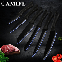 Black Stainless Steel Knife Kitchen Knife 6 Pcs Set Ultra Sharp Blade Cooking Kitchen Knives Kitchen Accessories Tools Dropship