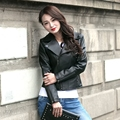 2017 New Ladies Leather Jacket Black Turn-down Collar Oblique Zipper Genuine Sheepskin Women Fashion Winter Coat FREE SHIPPING