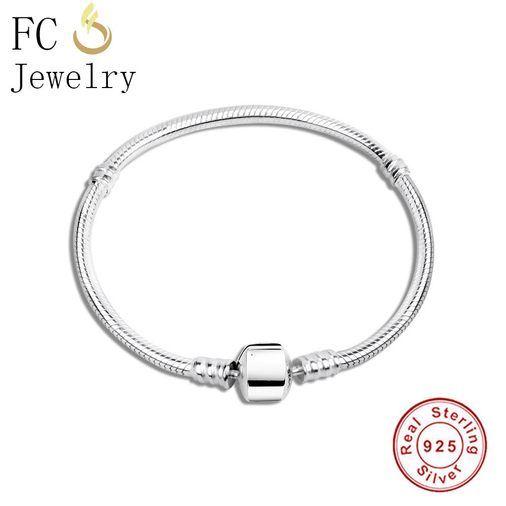 FC Jewelry 925 Sterling Silver Bracelets Fit Charm Bead Pendant Chain Women Female Pulseira No Brand Logo European Berloque 2018FC Jewelry 925 Sterling Silver Bracelets Fit Charm Bead Pendant Chain Women Female Pulseira No Brand Logo European Berloque 2018