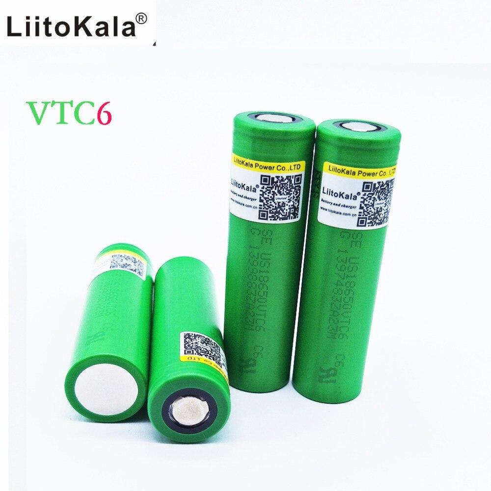 Liitokala 10PCS LOT 100 Original 3 6V 18650 3000mAh battery US18650 VTC6 30A E Cig Battery