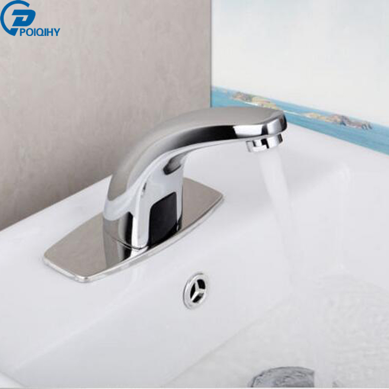 Automatic Hand Touch Tap Hot Cold Mixer Power Free Sensor Faucet Bathroom Sink Hot Cold Mixer Chrome Finish new deck mounted cold automatic sensor hands faucet chromed free bathroom sink tap cold only sensor faucet chrome for bathroom