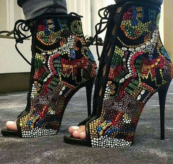 Embelli Lacets Cristal Bottes Toe D'été À Strass Talons Cheville Show Hauts Femmes Sexy As Sandales Peep Multicolore Bling 0x5C4qn