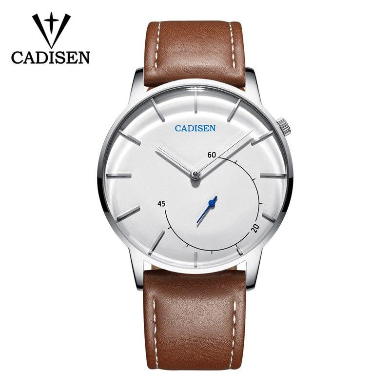 2018 CADISEN Hot Luxury Brand Quartz Watch Men Casual Leather Hodinky Waterproof Clock Man Relojes Hombre Zegarek Meski Gift in Quartz Watches from Watches