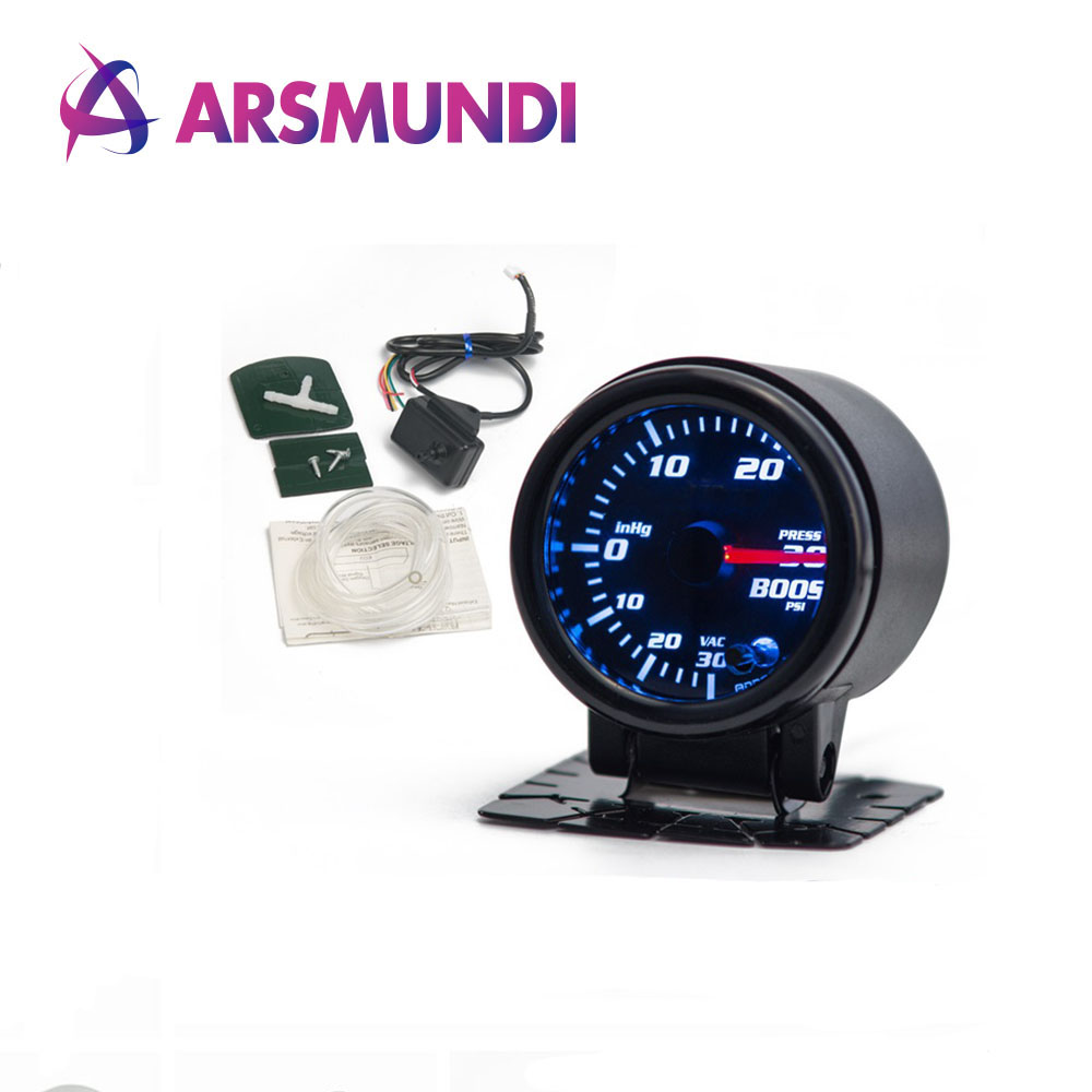 """ 52mm 7 Color LED Smoke Face Car Auto Bar Turbo Boost Gauge Meter With Sensor and Holder"