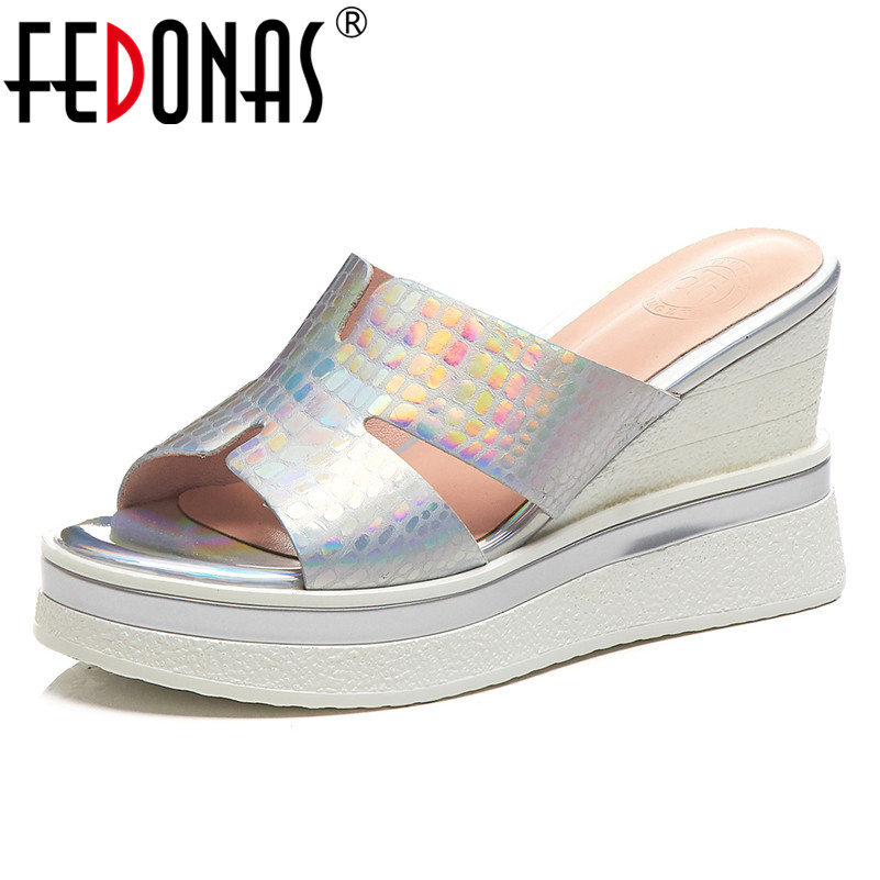 FEDONAS 2019 New Fashion Genuine Leather Wedges Women Sandals Round Toe High Heels Summer Party Casual Basic Office Shoes Woman FEDONAS 2019 New Fashion Genuine Leather Wedges Women Sandals Round Toe High Heels Summer Party Casual Basic Office Shoes Woman