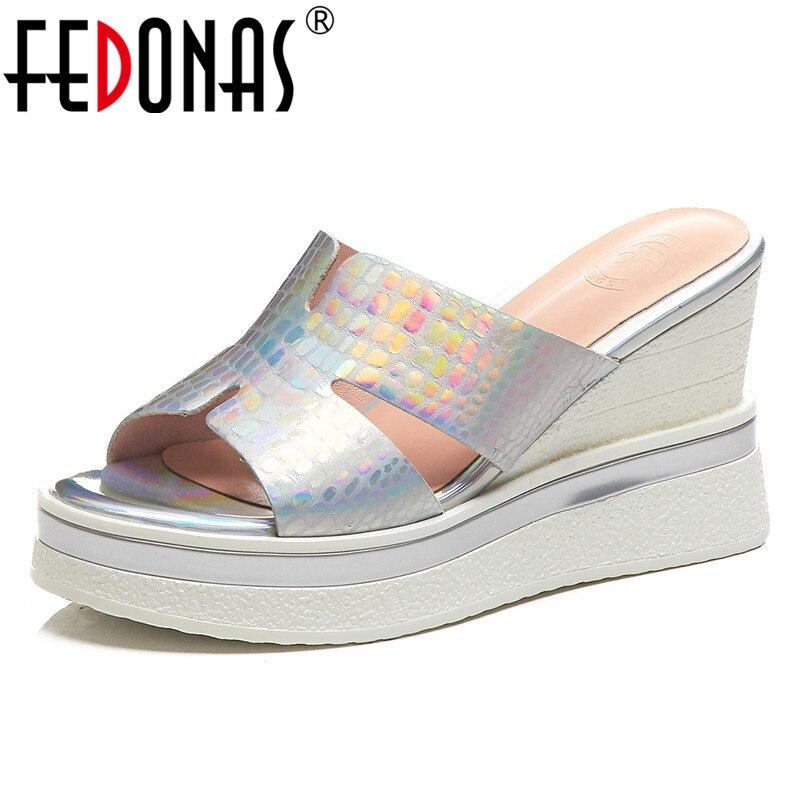 FEDONAS 2019 nouvelle mode en cuir véritable compensées femmes sandales bout rond talons hauts fête décontracté basique chaussures de bureau femme-in Sandales femme from Chaussures    1