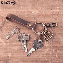 Original Handmade Key Wallet Cow Leather Keyring Pouch Bag Personality Key Safe Hanger Creative Gift key Chains Retro Key Bag(China)
