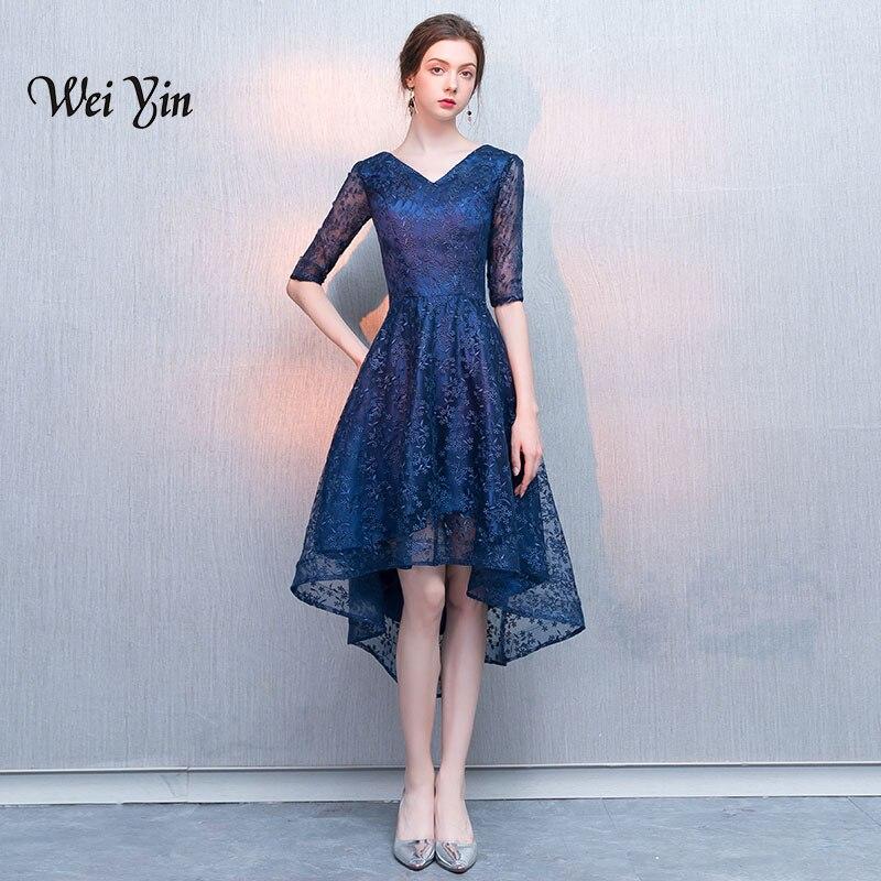 weiyin Half Sleeves V-Neck Lace Asymmetrical Elegant Luxury Sexy   Evening     Dresses   Famous Designer Party Formal   Dress   WY854