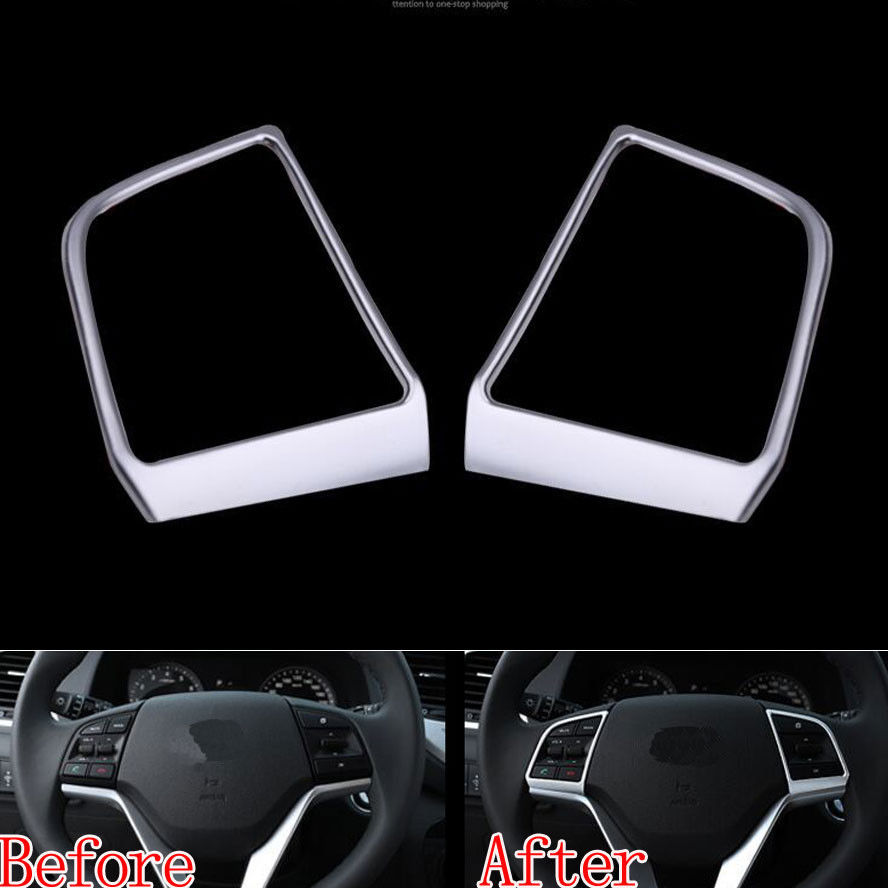 Chrome Car Styling Steering Wheel Trim Cover Interior Insert Frame Car-Covers Decor For 2015 2016 Hyundai Tucson Car Accessories 5pcs for hyundai tucson 3rd 2016 2017 car air conditioning sound knob covers chrome interior decoration auto accessories styling