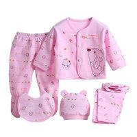 5pcs Set Newborn Baby Clothing Set Long Sleeve Cartoon Baby Boy Girl Clothes Cotton Baby Underwear