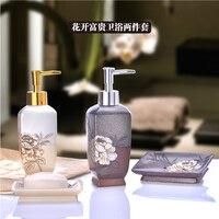 Ensemble pièce de lavage de résine creative suite coccinelles salle de bains boîte de savon désinfectant pour les mains ornements haut de gamme doux chargement brosse à dents titulaire