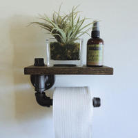 Solid Wood Retro Paper Holders stainless steel Bathroom toilet Paper Holders Roll Tissue Rack 304 Roll paper holder with shelf
