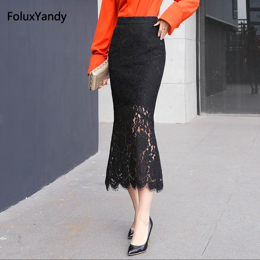 Bodycon Lace Skirts Women 2018 New Casual Office Lady High Waist Trumpet Skirt Black SSQZ10