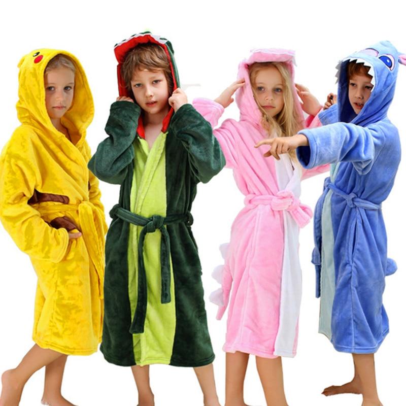 Kids Dinosaur Robes Pokemon Pikachu Boys Girls Sleepwear Pajamas Childrens Bathrobe Flannel Hoodie Robe Enfant Clothes for Bath