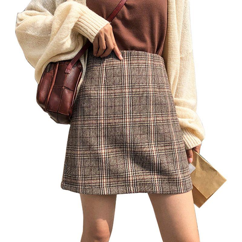 Women's High Waist Plaid Skirt Woolen Skirt Short Skirt 2019 Casual Skirt