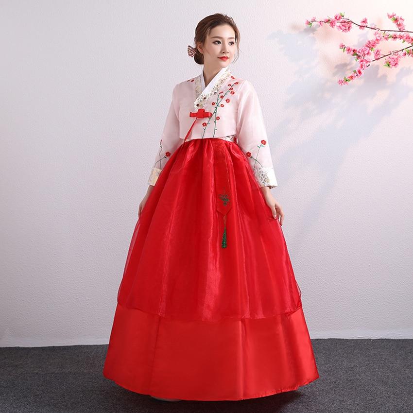 Palace Hanbok 2019 News Floral EmbroideryTraditional Korean Costume For Women Wedding Party Elegant Kimono Dance Costume