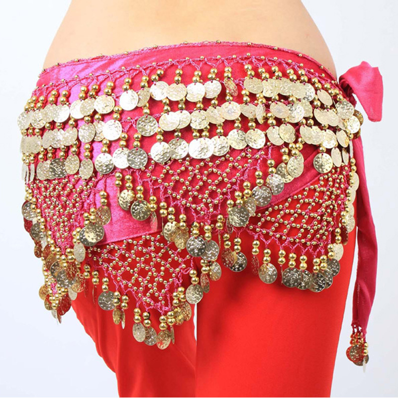 3 Color Belly Dance Waist Chain Wrap Bellydance Hip Scarf Belt Skirt Waistband Wrap Dancing Costume Waist Chain
