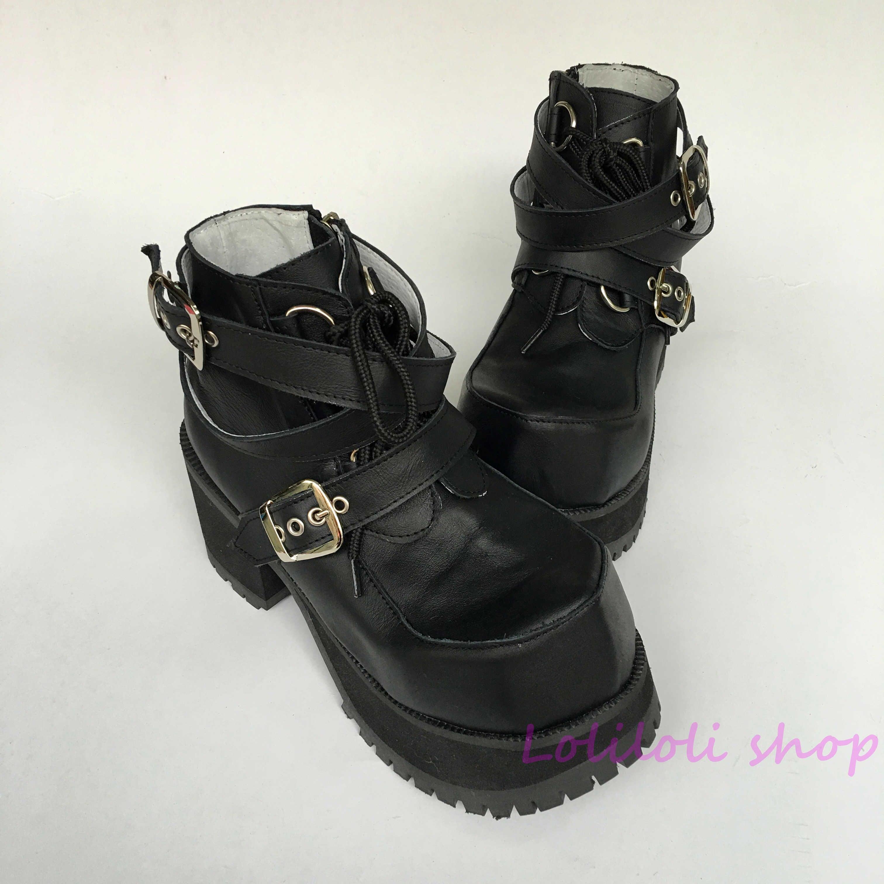 Kuh Kordelzug Hand Leder Schuhe Süße Lolita Größe Große Made Ferse Mehrfach Anpassung Kunden Prinzessin Platz Schwarz An9102 PIqSwxqF8