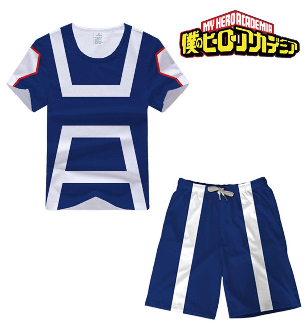 Hero Academia Cosplay Costume OCHACO URARAKA Midoriya Izuku Bakugou Midoriya Iida School Sportswear T-shirt Tops/Shorts