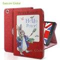 Venta caliente del envío libre de la tableta case para ipad mini 4 animación de dibujos animados peter conejo shell protector con el sueño inteligente