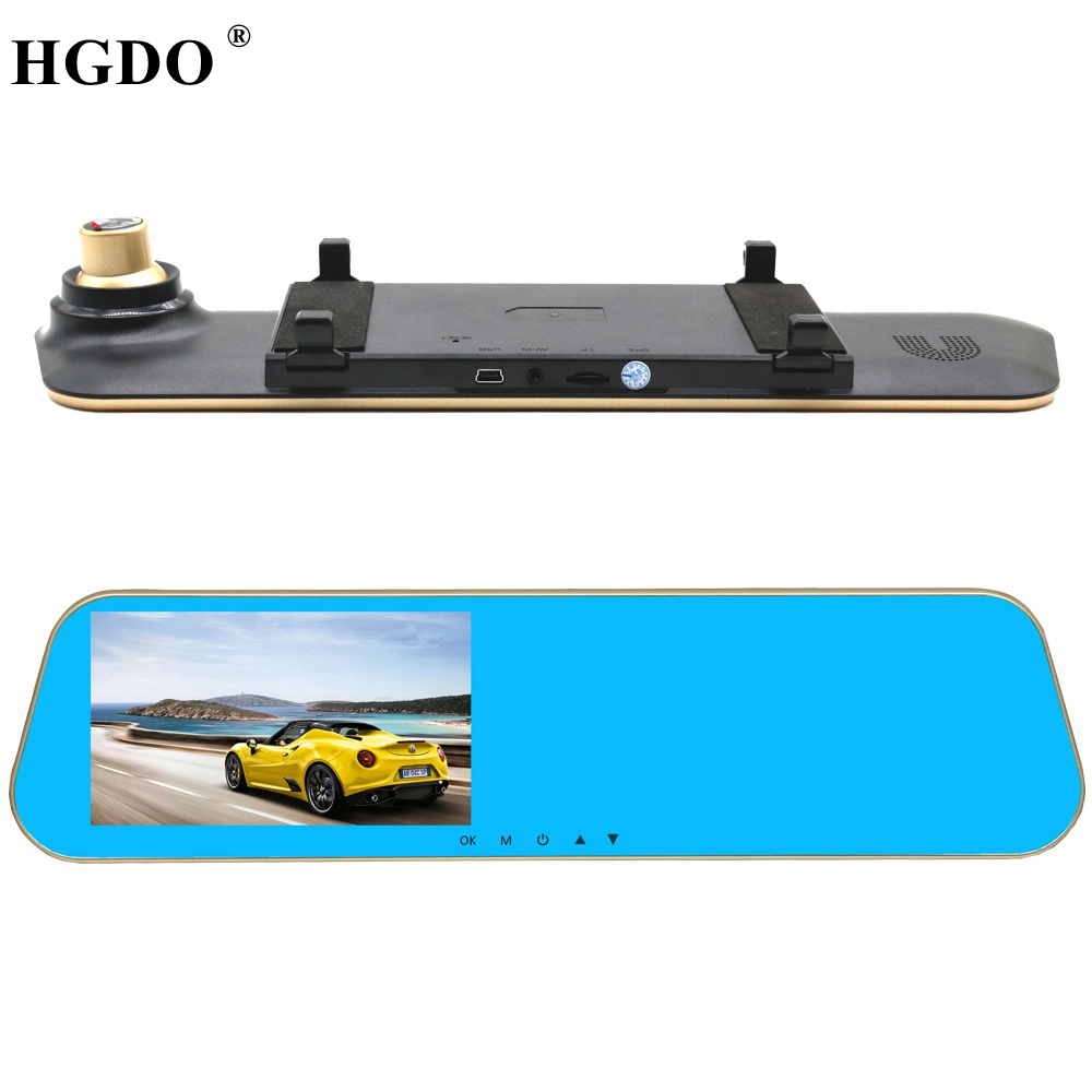 HGDO Newest Car DVR rearview mirror camera car dvr with two cameras Full hd 1080P video registrator dash cam Video Recorder