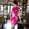 Rosa quente Clássico Senhoras De Cetim Mini Cheongsam Venda Quente Chinês Tradicional estilo Qipao Nobre Fino Vestido de Tamanho S M L XL XXL 276009