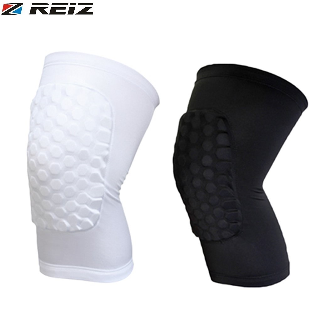 REIZ Basketball Leg Knee Protector Short Sleeve For Kids Adult Honeycomb Pad Anti-slip Band Gear Crashproof Knee Pads Support