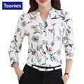Patrón de flores de Las Mujeres Camisas de Manga Larga Camisa de Las Mujeres Blusas de Las Señoras Tops Blusa de La Gasa de Las Mujeres Camisas de Mujer Nuevo Femenina Blusa