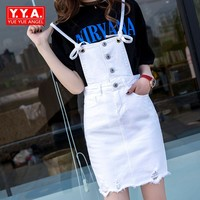 Ripped Hole White Denim Short Jumpsuit Summer High Waist A Line Spaghetti Strap Wrap Skirts Womens Backless Casual Playsuits