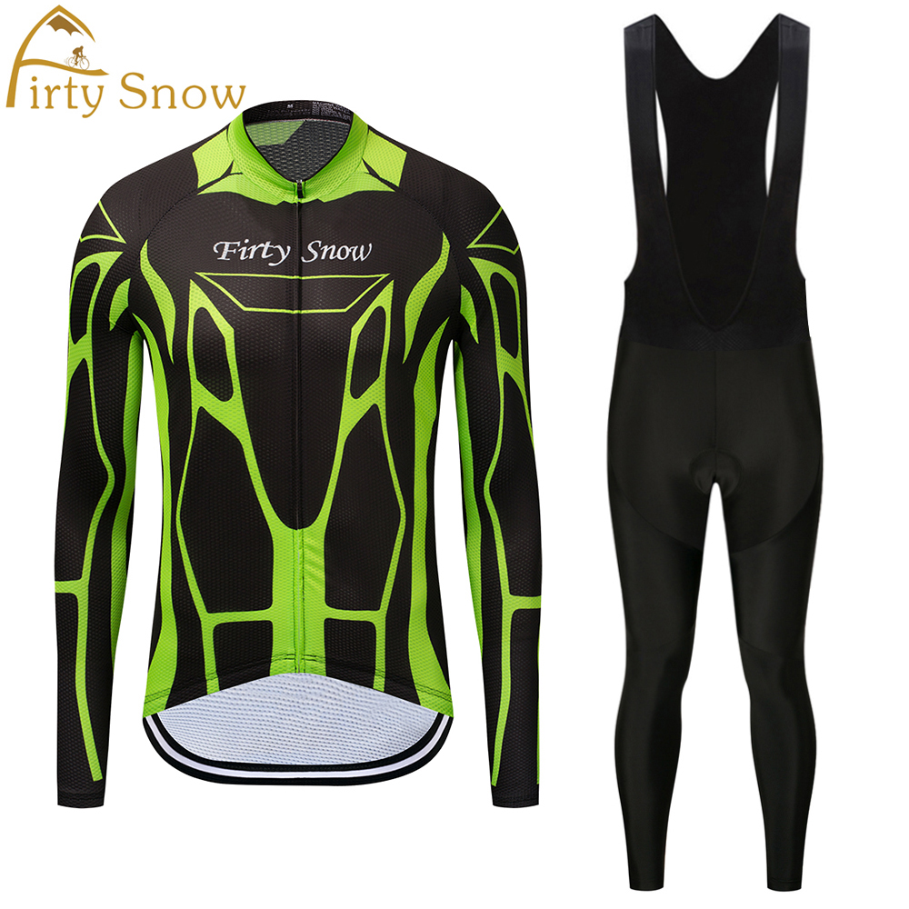 Firty Snow Red White Ropa Ciclismo Maillot MTB Bike jersey Bib Pants Sets Men Cycling clothing Suits Riding Long Sleeve Shirts