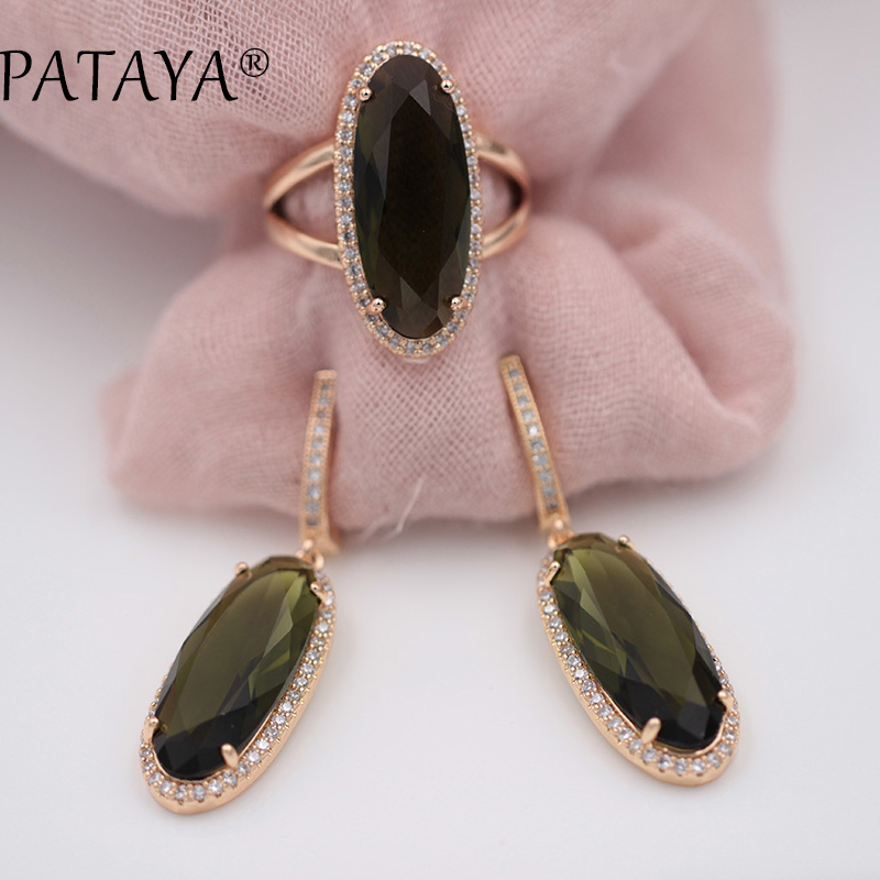 PATAYA New Women Wedding Vintage Jewelry 585 Rose Gold Trend Jewelry Sets 10 Colors Natural Zircon Oval Long Earrings Ring Set все цены