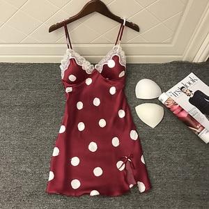Image 2 - Daeyard Lụa Nữ Váy Ngủ Sexy Cổ Chữ V Viền Ren Sleepshirt Chấm Bi Mùa Hè Áo Mặc Nhà Đồ Ngủ Homewear