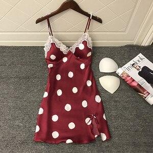 Image 2 - Daeyard Womens Silk Nightgown Sexy V Neck Lace Trim Sleepshirt Polka Dot Summer Dress Sleeveless Home Dress Sleepwear Homewear