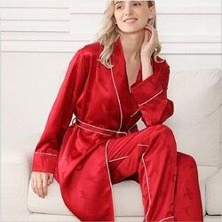 Pijamas Silk Stain Summer women 2019 sexy red pink Pajamas for women night suit sleepwear nightwear pajama set silk pyjamas sets