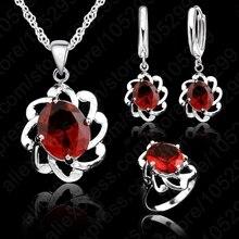 Винтаж Wonen 925 пробы серебряные Ювелирные наборы выдалбливают австрийский кристалл кулон ожерелья серьги кольцо невесты набор
