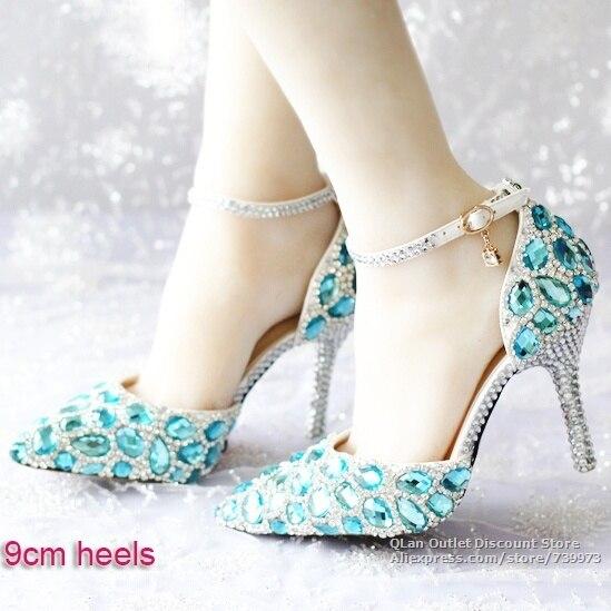 1c91b3efc3d 2015 New Royal blue wedding shoes with ankle strap Acid blue crystal wedding  sandals rhinestone bridal prom high heels QL SJW318