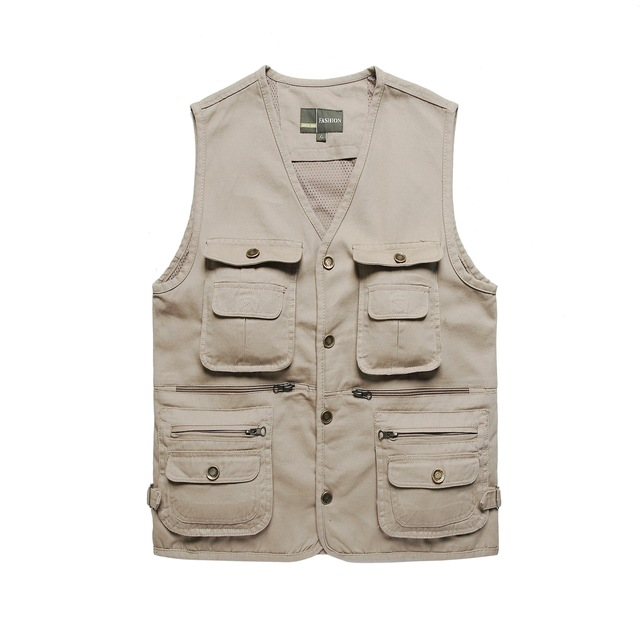 ace08fa15122d Vest With Many Pockets Cameraman Clothing Cotton Jacket Solid Gilet Beige Army  Green Plus Size Mens