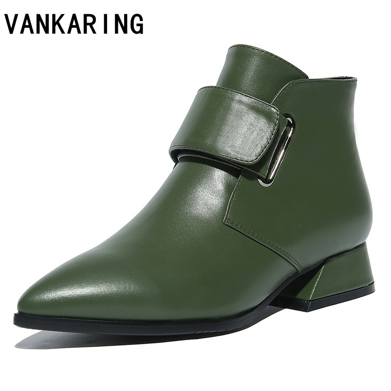 VANKARING women shoes leather ankle boots ladies mid high heel fashion pointed toe buckle women autumn winter shoes boots woman